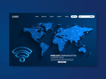 Wireless technology landing page, blue background with world map, interface, vector, illustration Stockfoto - 159708599