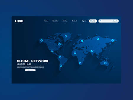 Network data protection technology landing page, blue interface, vector, illustration, Stock Illustratie