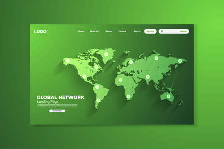 Network data protection technology green landing page, blue interface, vector, illustration