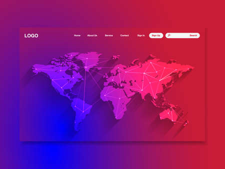 Network data protection technology colorful landing page, blue interface, vector, illustration