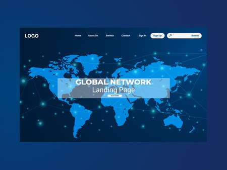 Network data protection technology landing page, blue interface, vector, illustration Stock Illustratie