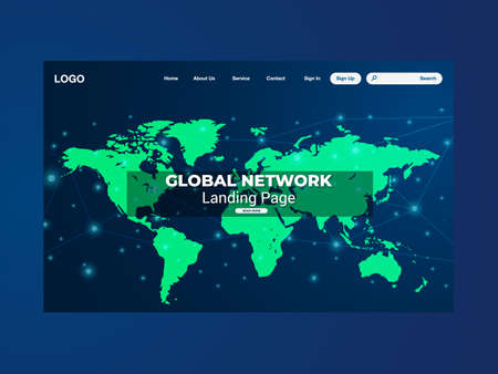 Network data protection technology landing page, blue interface, vector, illustration Stockfoto - 159963516