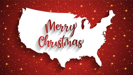 Merry christmas United States map, Happy new year 2021 Background, vector, illustration, eps file Stock Illustratie