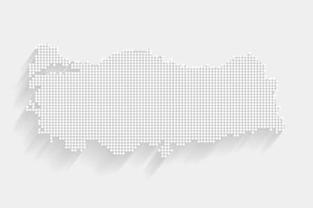 Dotted Style of white color Turkey map, white dotted Turkey map with shadows, vector, illustration, eps file Stockfoto - 164884631