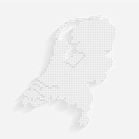 Dotted Style of white color Holland map, white dotted Holland map with shadows, vector, illustration, eps file