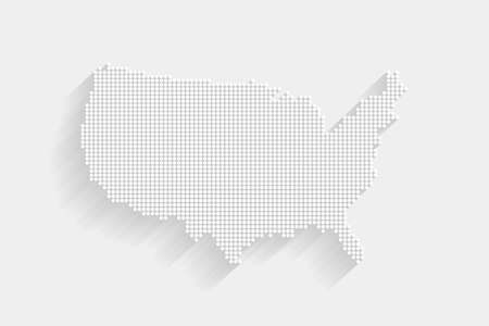 Dotted Style of white color United States map, white dotted USA map with shadows, vector, illustration, eps file Stock Illustratie