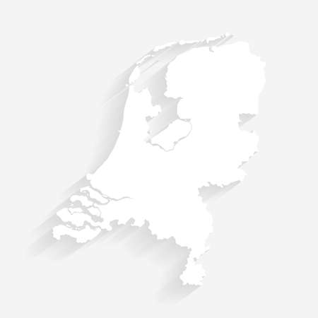 Simple white Netherlands map on gray background, vector, illustration, eps 10 file