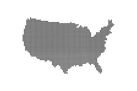 Dotted Style of black color United States map, white dotted USA map with shadows, vector, illustration, eps file Stock Illustratie