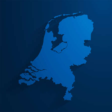 Simple blue Netherlands map background, vector, illustration, eps 10 file Stock Illustratie