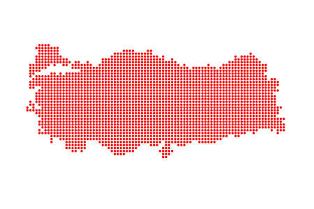 Dotted Style of red color Turkey map, white dotted USA map with shadows, vector, illustration, eps file Stock Illustratie