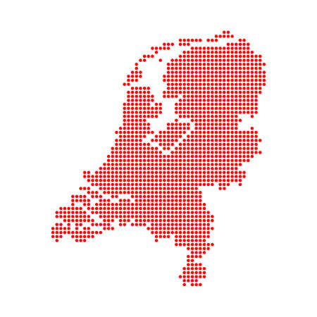 Dotted Style of red color Netherlands map, white dotted USA map with shadows, vector, illustration, eps file Stock Illustratie