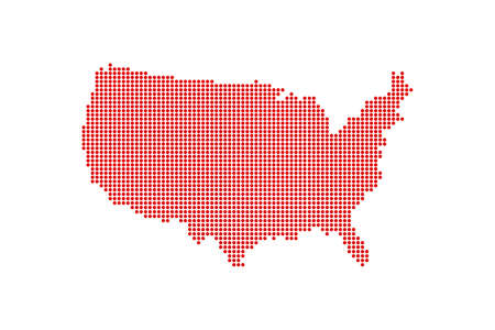 Dotted Style of red color United States map, white dotted USA map with shadows, vector