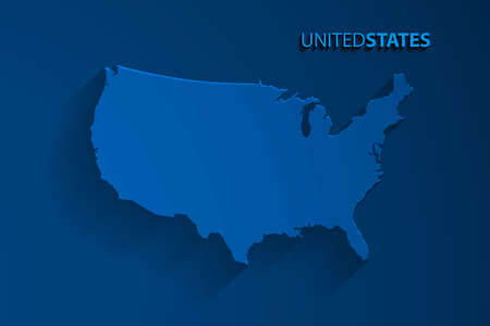 Blue United States map background, vector