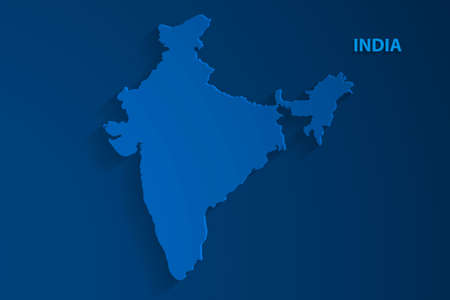 Blue India map background, vector