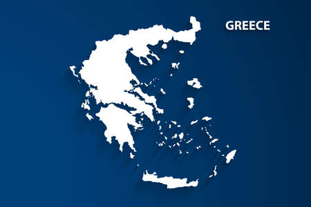 Greece map with blue background, vector