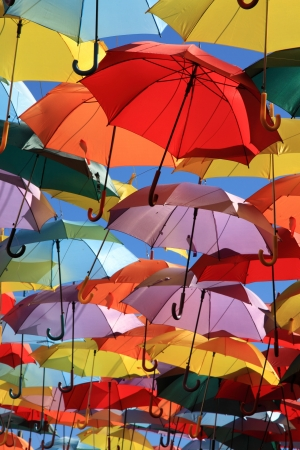 Street decorated with colored umbrellas Madrid,Getafe, Spain Stock Photo