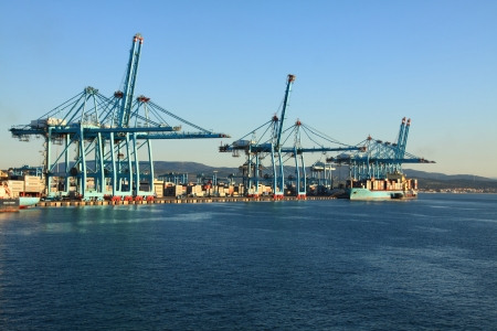habour: container ship in the port of algeciras, spain