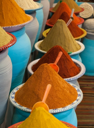 Spices at the market Marrakech, Morocco 版權商用圖片
