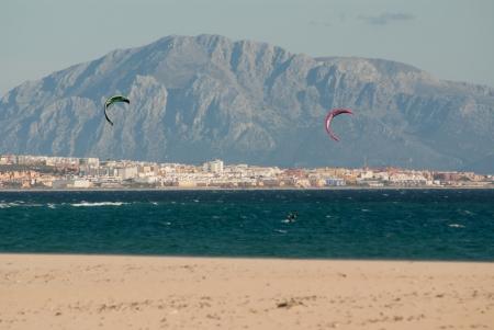 tarifa: Wooden fences on deserted beach dunes in Tarifa, Spain
