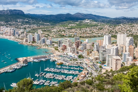 alicante: High angle view of the marina in Calpe, Alicante, Spain Stock Photo