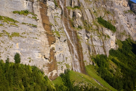 canton berne: Staubbach falls in Lauterbrunnen, Berne Canton, Switzerland. Stock Photo