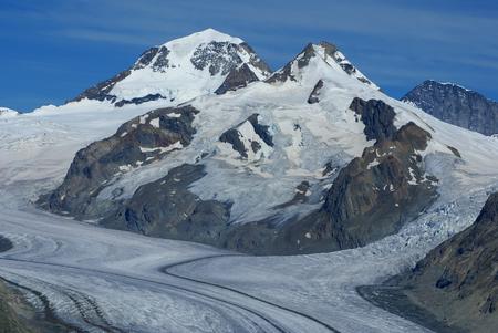 monch: Aletch the longest glacier in Alps Stock Photo
