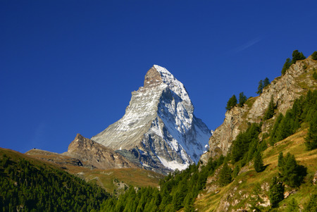 Matterhorn  4478m  in the Pennine Alps from Zermatt, Switzerland  photo