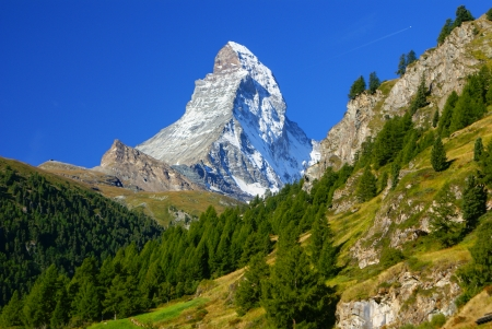 schweiz: Matterhorn  4478m  in the Pennine Alps from Zermatt, Switzerland  Stock Photo