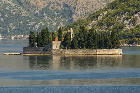 island church in perast kotor bay montenegro photo