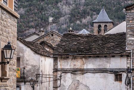 ordesa: The medieval village of Torla in Spain pyrinees of Aragon Stock Photo