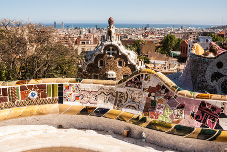Barcelona Park Guell of Gaudi tiles mosaic serpentine bench modernism Stock Photo