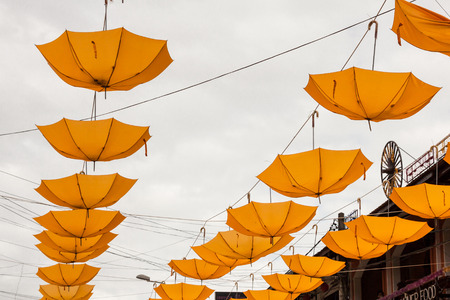 colorful umbrella street decoration Stock Photo - 26012891