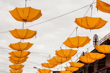 colorful umbrella street decoration Stock Photo - 26012891