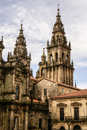 xacobeo: Cathedral of Santiago de Compostela The Romanesque facade Stock Photo
