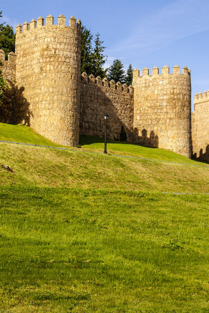 Scenic medieval city walls of Avila, Spain.