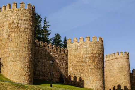 crenelation: Scenic medieval city walls of Avila, Spain, UNESCO list