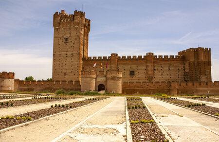 crenellated: castle of the mota in medina del campo,valladolid,spain