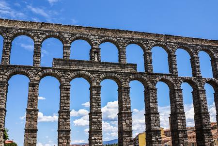 acueducto: Aqueduct in Segovia, Castilla y Leon, Spain. Stock Photo