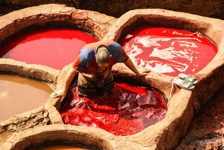 weavers: Fez, Morocco. The tannery souk of weavers is the most visited part of the 2000 years old city. Editorial