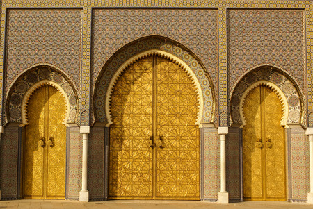 Closeup of 3 Ornate Brass and Tile Doors to Royal Palace in Fez, Morocco