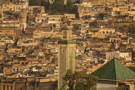 fas: Kairaouine mosque minaret at Fez, Morocco