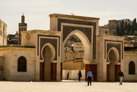 fas: Bab Bou Jeloud gate (The Blue Gate) located at Fez, Morocco
