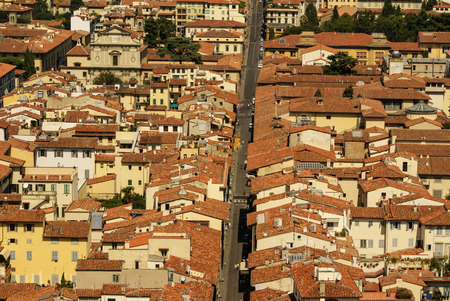 Top view from Campanile Giotto on the historical center of Florence, Italy photo