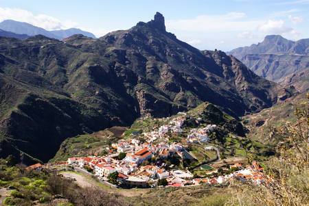 precarious: View of Roque Nublo Gran Canaria in the Canary Islands Stock Photo