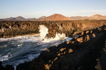 Los Hervideros, Lanzarote, Canary Islands. The place where lava was going to the Ocean Stock Photo