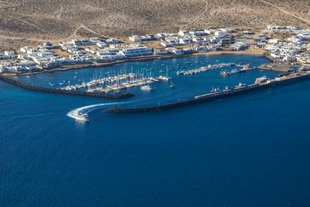 mirador: view to La Graciosa Island from Mirador del Rio. Lanzarote, Canary Islands, Spain. Stock Photo