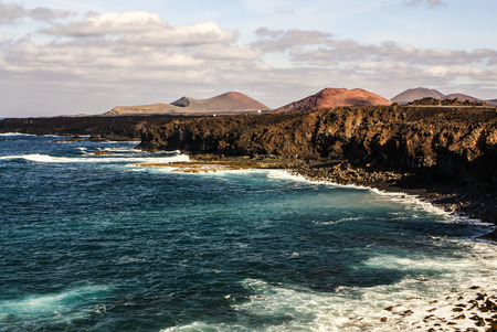 los hervideros: Los Hervideros, Lanzarote, Canary Islands. The place where lava was going to the Ocean Stock Photo
