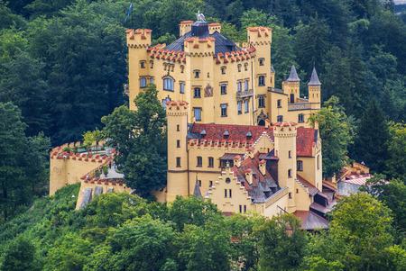 schwangau: Hohenschwangau castle in the Bavarian Alps - Tirol, Germany