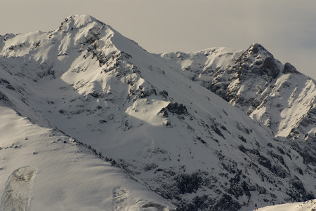 tourism in andorra: panoramic view, south side, of massif of Maladeta in the Pyrenees Stock Photo