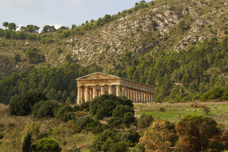 greek temple in the ancient city of Segesta, Sicily photo